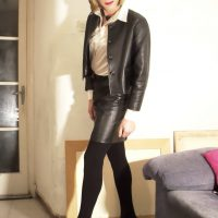 Leather skirt and jacket