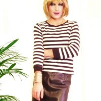 Leather skirt and striped top